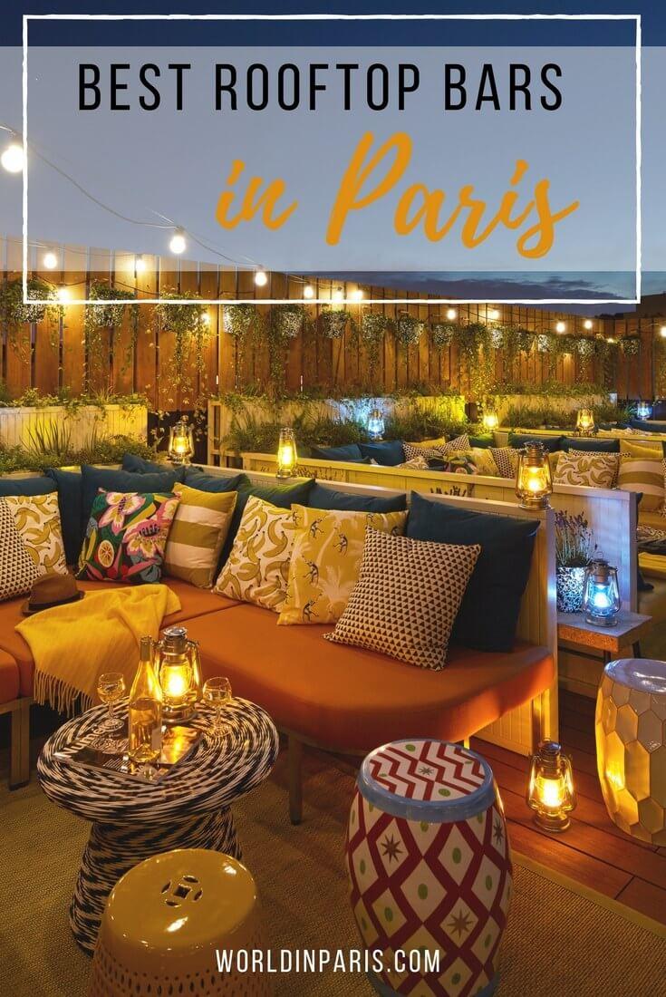 best rooftop bars in Paris, best Paris rooftop bars, rooftops of Paris, best views of Eiffel Tower, Paris skyline, Paris City View, bars with view of Eiffel Tower, Paris at night #paris #parisatnight #moveablefeast
