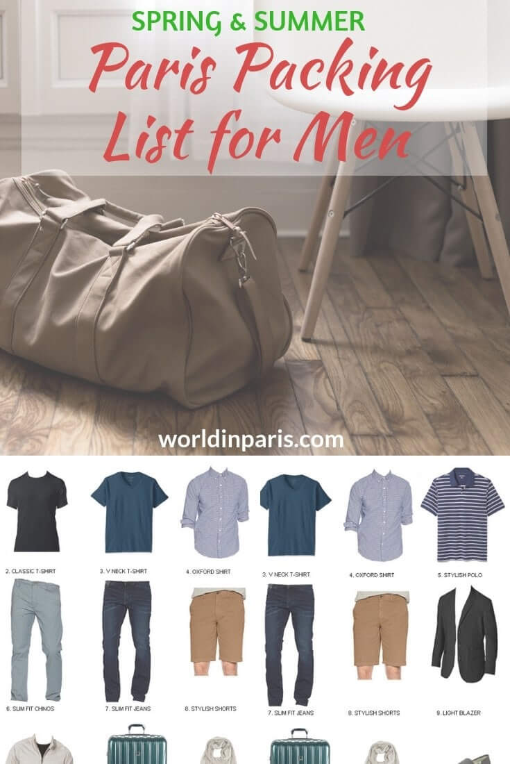 Check our Packing List for Paris Spring and Summer for men, with all the Paris Travel Essentials for men to crack the Parisian style. How to dress like a Parisian Man? Find the Main Staples and ideas of Paris Outfits in this Packing List for Paris #paris #packinglist #parisianstyle