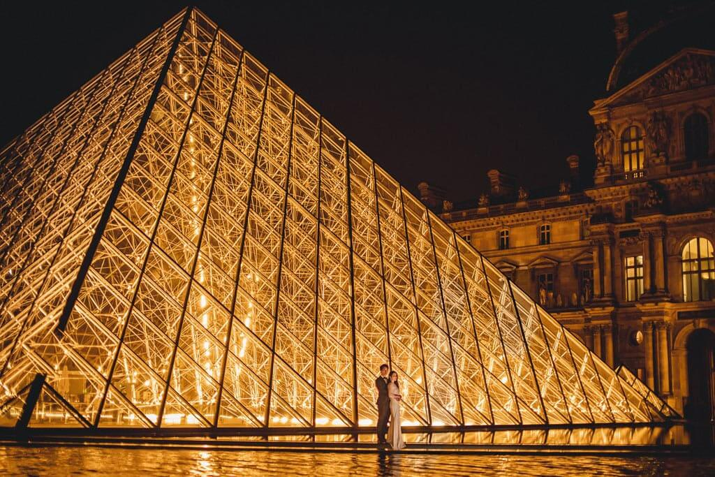 Photography in Paris - Louvre Pyramid at midnight