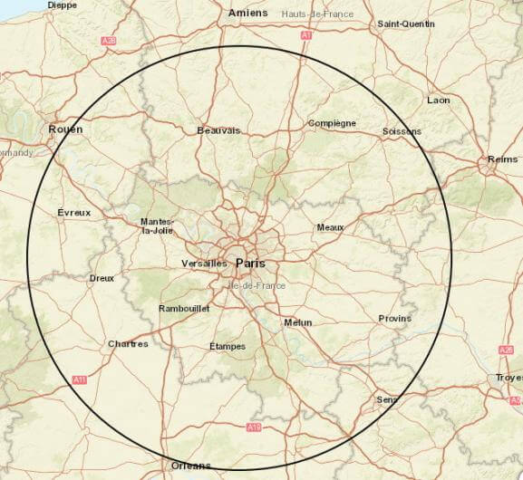 Paris Map with 100 Km Radius