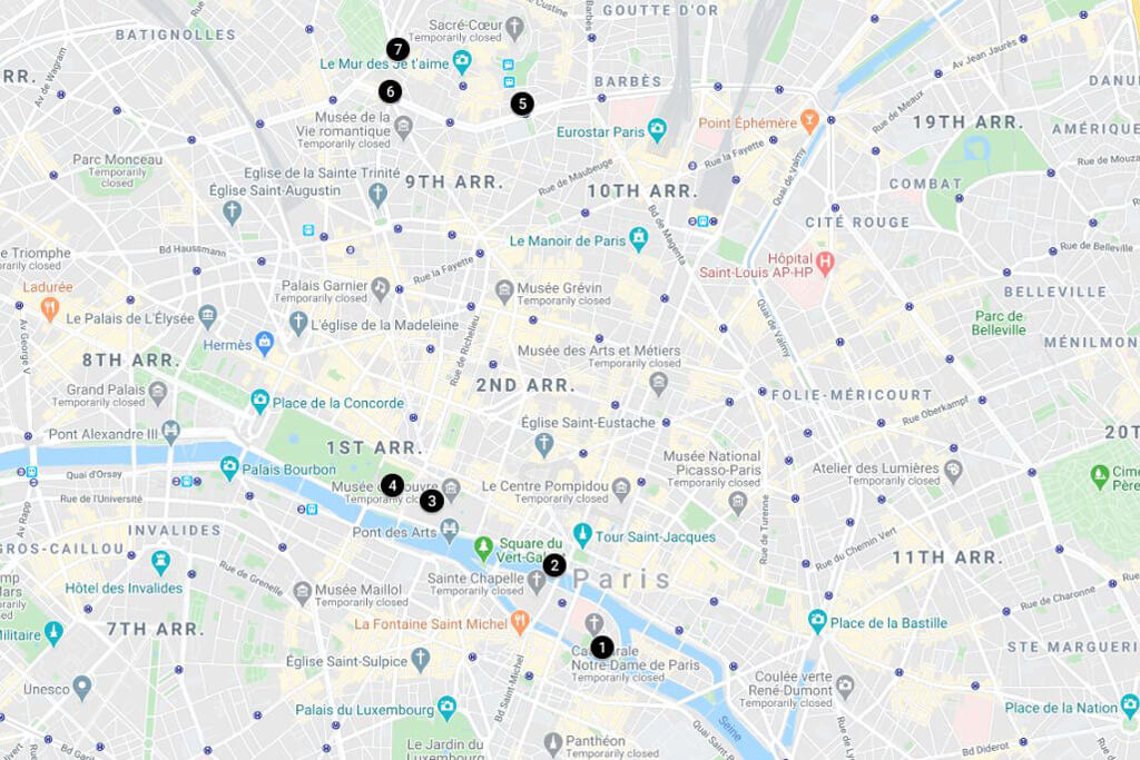 2 Days in Paris Itinerary Map - Day 1