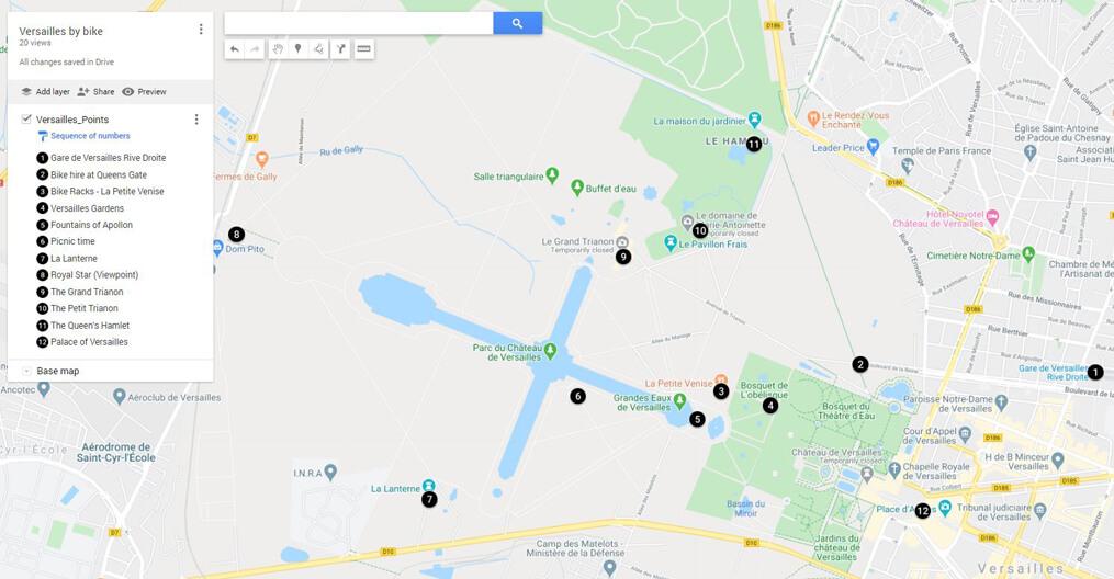 Versailles Bike Itinerary Map