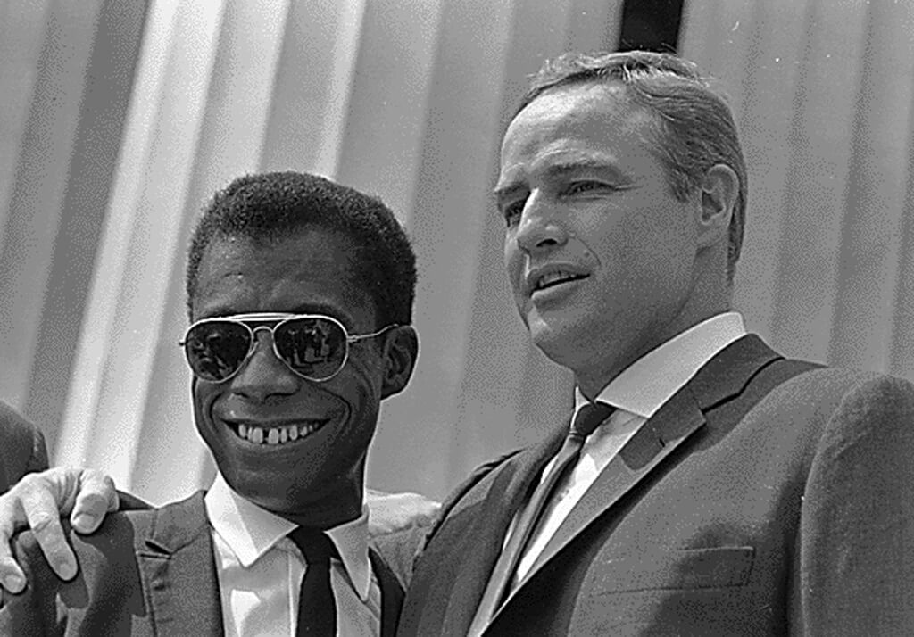 James Baldwin and Marlon Brandon in the Civil Rights March (1963)