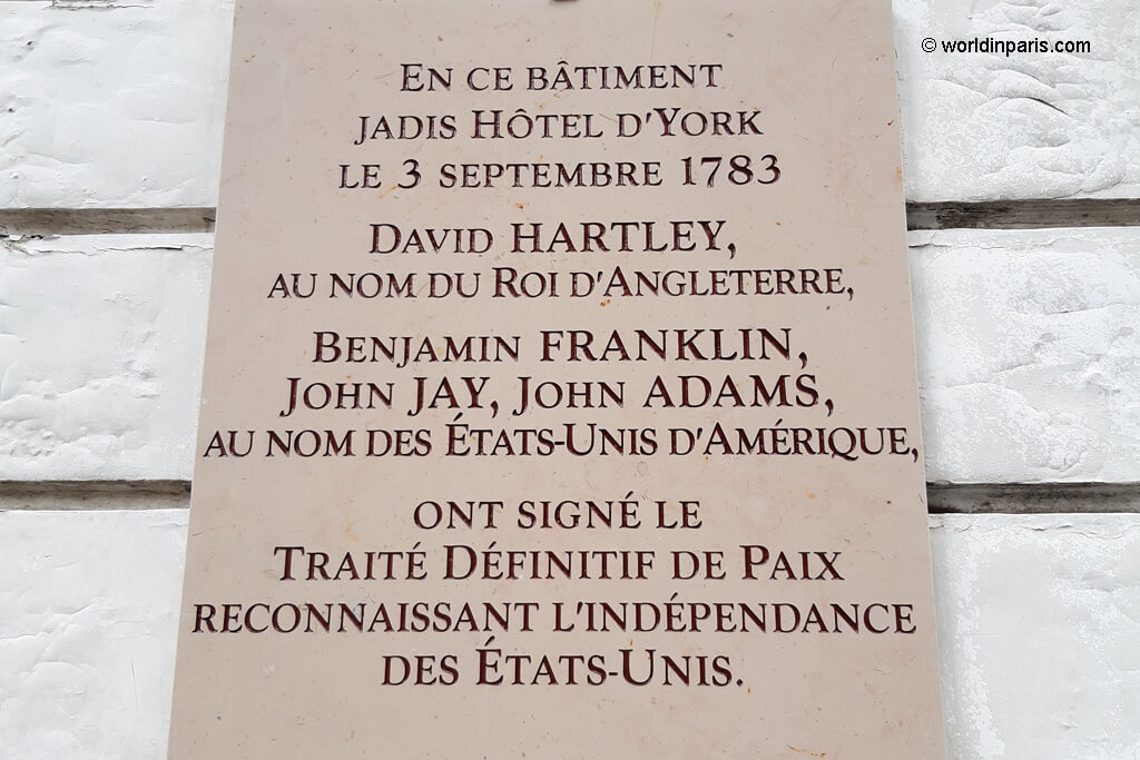 Treaty of Paris Plaque at Hotel d'York