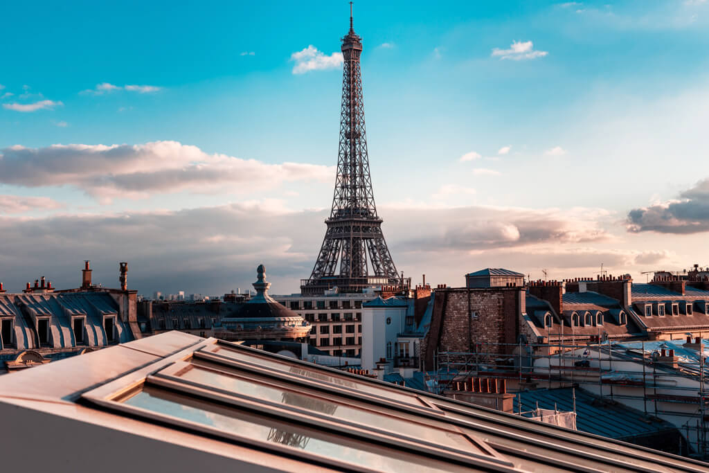 Eiffel Tower View from the Parisian Roofs