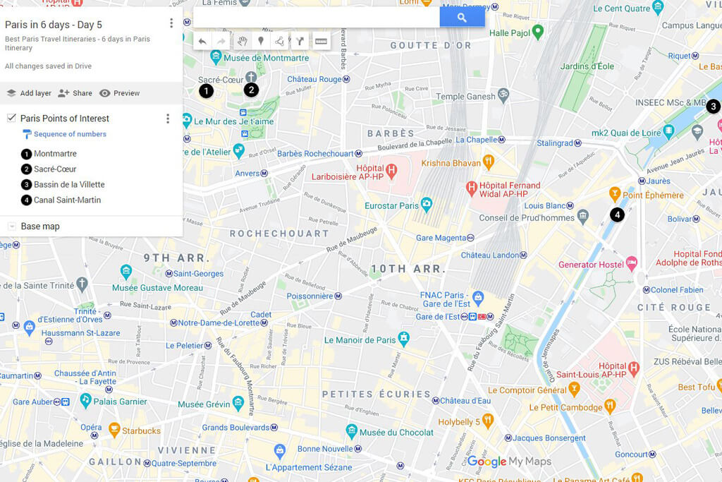 6 Days in Paris Map Day 5