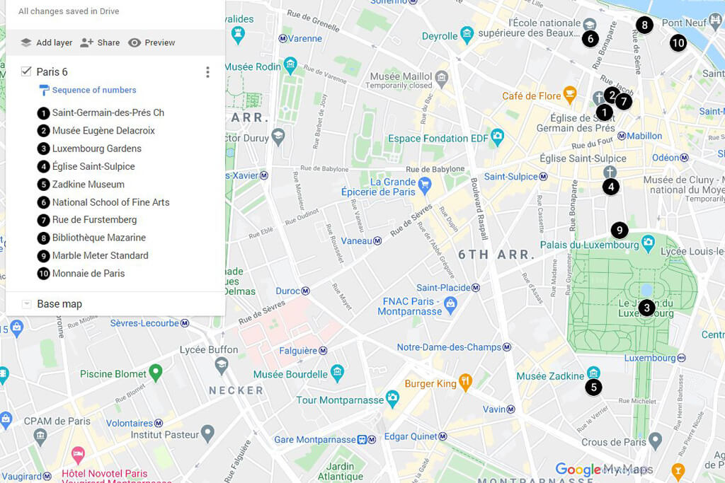 Things to Do in Paris 6 Map